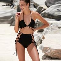 Black Strappy Halter High Waist Bikini Set Push Up Swimwear Women Bandage Bikini Beachwear Bikinis Femme