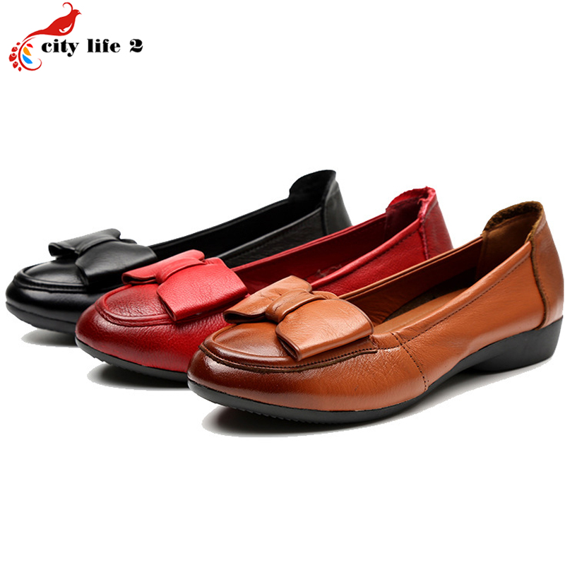 Soft Bottom Leather Shoes Middle Aged font b Women s b font Butterfly Shallow Mouth Flat