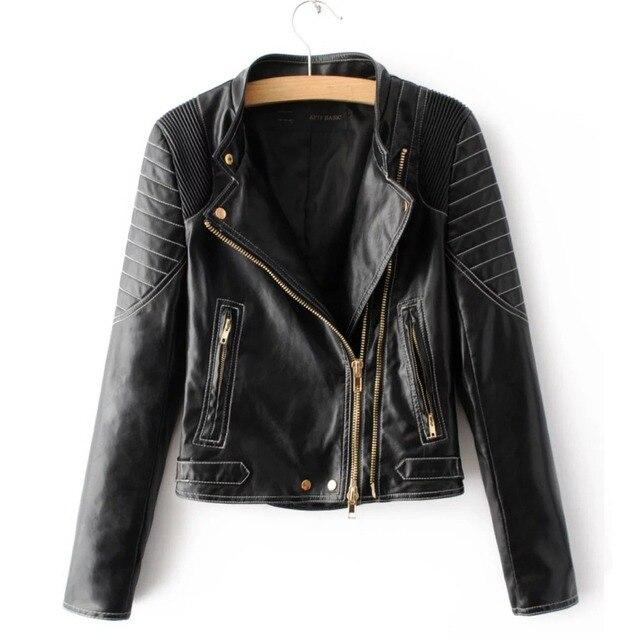 New fashion mandarin collars bomber Leather jackets women supernova shorts coat  leather jaqueta couro casual dress 1d2667292