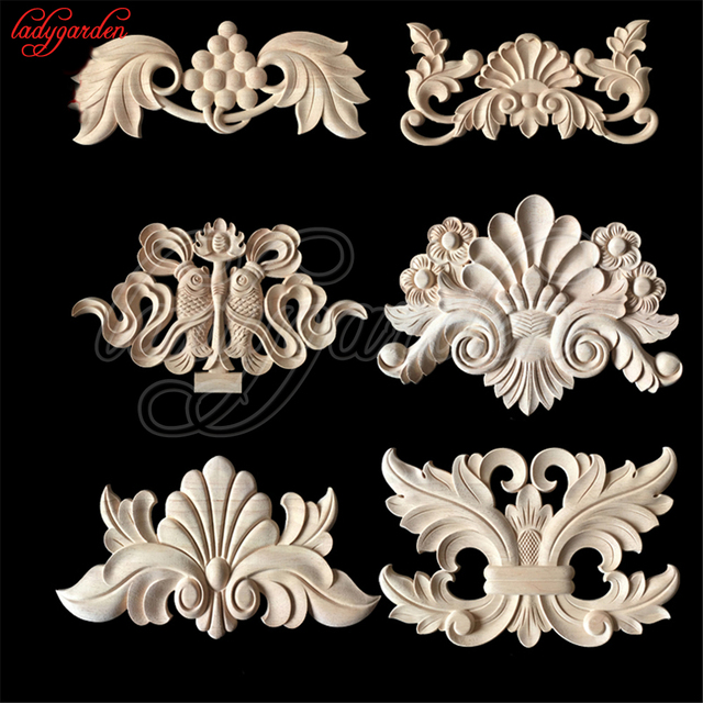 wooden appliques for furniture. Flower Wood Carving Natural Decorative Appliques For Furniture Cabinet Unpainted Wooden Mouldings Decal Figurine