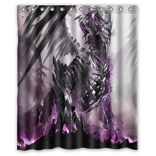 Creative Fashion Polyester Waterproof Shower Curtain Cool Purple Electric Dragon 60 X 72