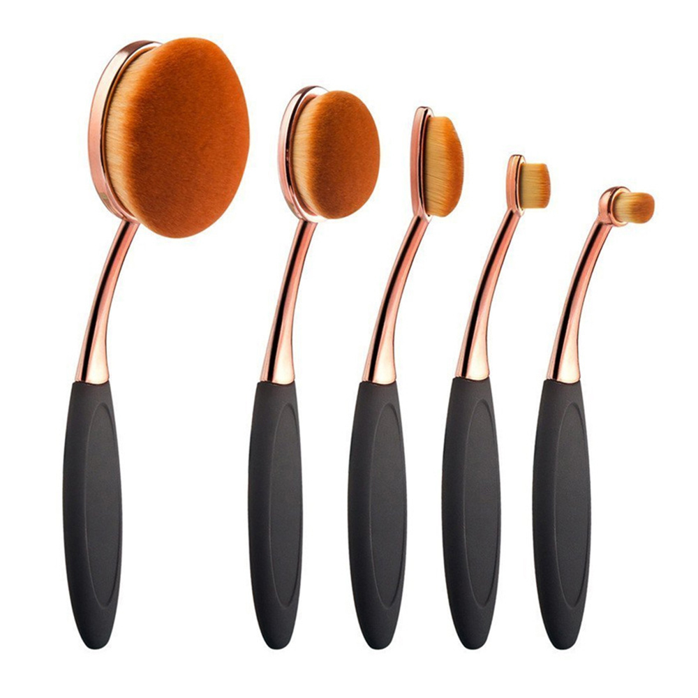 5pcs Makeup Brushes Set with Soft Oval Shaped Head for Applying Foundation Concealer and Highlighter 5