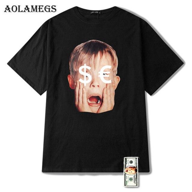 433121eb3 Aolamegs T Shirt Men Dollar Print Ribbon Men's Tee Shirts Short Sleeve  O-neck T Shirt Loose Cotton High Street Tees Summer Brand