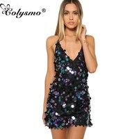 Shinny Colysmo Backless V Neck Sparkle Halter Kobiety Disc Olśniewająca Slip Dress-Line Wieczorne Party Sukienka Summer Beach Sundress Nowy