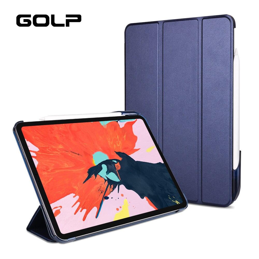 Tampa articulada Para O iPad Pro 11 2018 Caso Lápis com Suporte, GOLP Inteligente Estande Couro PU + PC caso capa Dura de Volta para o iPad Pro 11