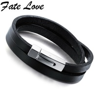 Rock Style Genuine Leather Men Bracelet Bangle Black Titanium Bracelet Fashion Charm Braclet With Delicate Claps