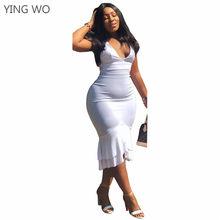 6e1075d813 Plunging V Neck Spaghetti Straps Black White Bodycon Dress Sexy Woman  Criss-Cross Backless Clubwear Ruffles Mermaid Dresses