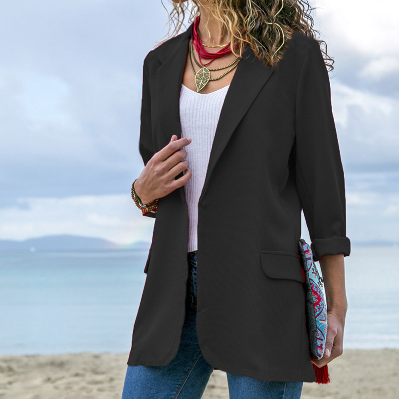 Women Open Front Long Sleeve Work Office Blazer Jacket Cardigan Casual Solid Color Suit  NYZ Shop