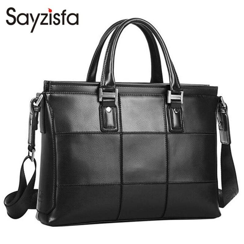 Sayzisfa Famous Brand New Men Handbags Leather 2017 Man's Business Shoulder Bags Male Tote Messenger Bag Fashion Briefcase T409