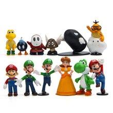 цены на 3-7cm Super Mario Bros PVC Action figures Toys Yoshi peach princess luigi shy guy Odyssey Donkey Kong model Dolls  в интернет-магазинах