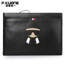 P.KUONE Brand Luxury Genuine Leather Men Clutch Bags Cow Leather Wallet Male Design Purse Phone Card Holder Envelope Hand Bag
