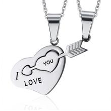 I LOVE YOU Best Friend Necklace Pendant Stainless Steel Jewelry Couples Korean Ladies Trendy Paired Suspension Pendant