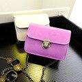 Bolsas de couro das mulheres ombro saco saco do mensageiro crossbody cadeia de cores Doces moda pequena Capa fêmea bolsas de alta qualidade