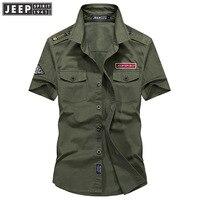 JEEP SPIRIT Summer Casual Cotton Shirt Men Solid Color Turn Down Collar Men Shirt Cotton Breathable Mens Shirts chemise homme
