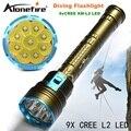 21000LM DX9S LED Дайвинг фонарик 9 х CREE XM-L2 СВЕТОДИОДНЫЙ Фонарик linternas Подводные 100 М Водонепроницаемый Лампы Факел