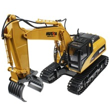 Huina 16 Channel 2.4G RC Alloy Timber Grab Excavator Rechargeable Sound and Light Demo Remote Control Engineer Truck