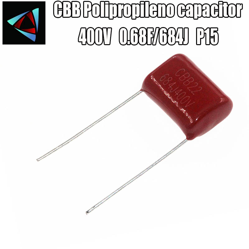 10PCS 400V 684J Pitch 15MM 0.68UF 680nf 684 400V CBB Polypropylene Film Capacitor