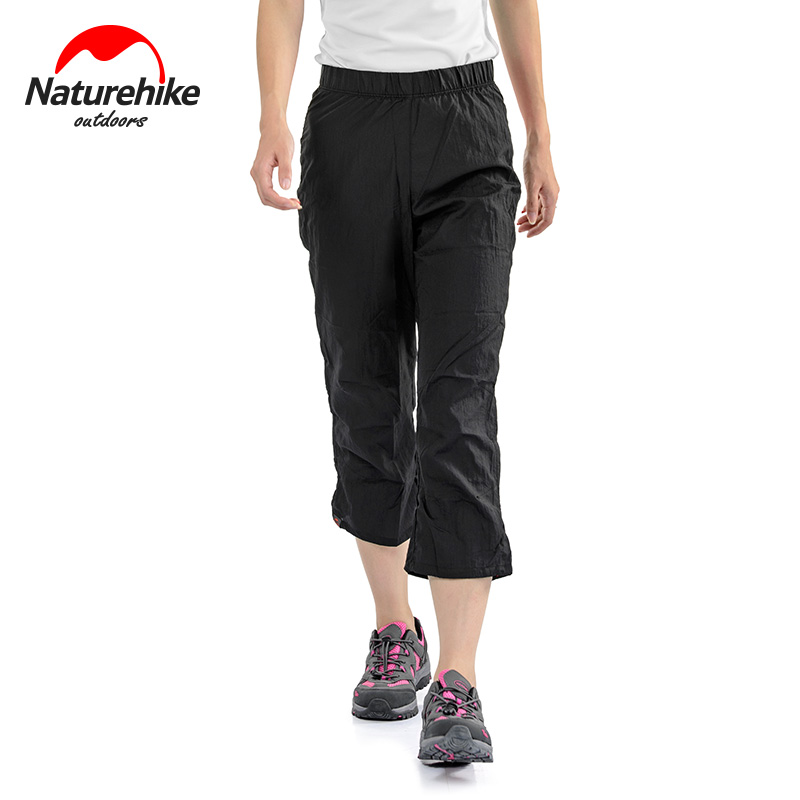Naturehike ultra-light quick-drying 8 point pants for Woman Summer black breathable thin Loose outdoor climbing skin pants S M L