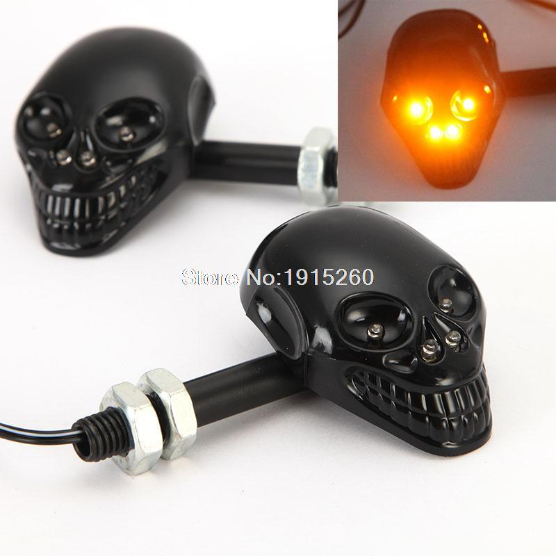 Black Motorcycle Skull <font><b>LED</b></font> Turn Signal Light 12v Indicator Amber Lamp Universal Bobber Chopper Bike Flasher Blinker Lighting