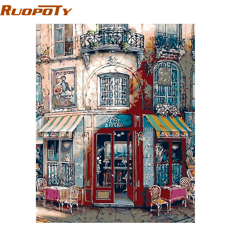 RUOPOTY Frame Coffee Shop Diy maalimine numbritega Abstract Oil Painting Home Decor Wall Art käsitsi maalitud toa kaunistamiseks