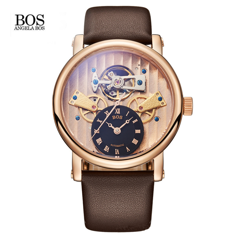Relogios homens BOS Men's Skeleton Automatic Self Wind Mechanical Watch Waterproof Stainless Steel Case Calfskin Band White Dial women favorite extravagant gold plated full steel wristwatch skeleton automatic mechanical self wind watch waterproof nw518