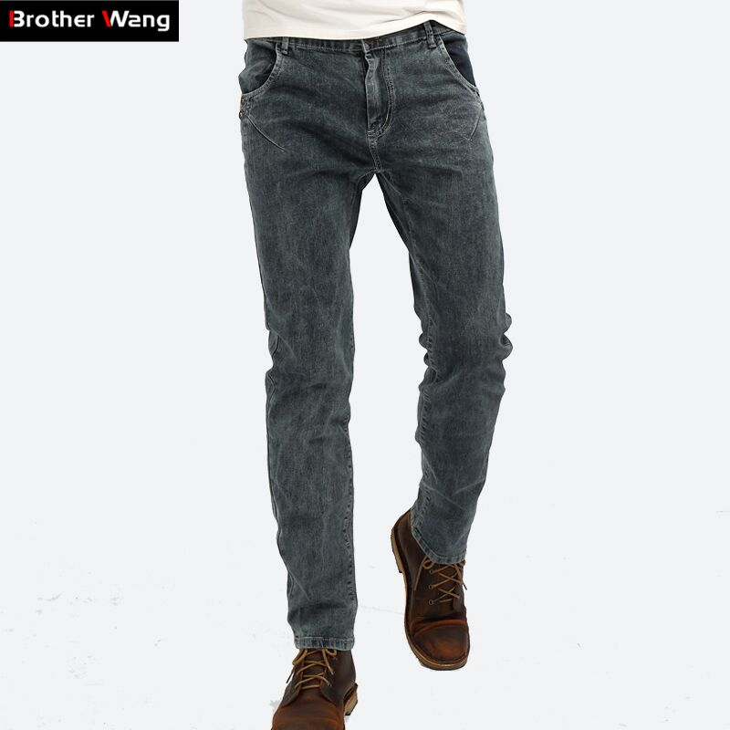 Brother Wang 2017 New Stretch Skinny   Jeans   Men Fashion Casual Gray Slim   Jeans   for Male Brand Pants D605