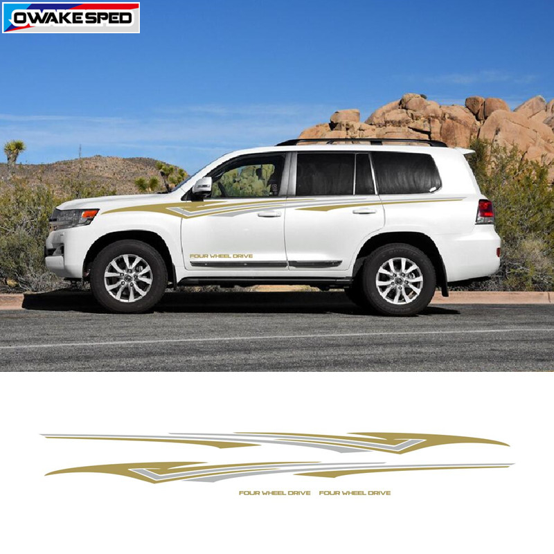 <font><b>4</b></font>-<font><b>Wheel</b></font> <font><b>Drive</b></font> Sport Vinyl Decal <font><b>Car</b></font> Styling Waistlines Stripes For <font><b>Toyota</b></font> Prado Land Cruiser Auto Body Door Side Stickers image