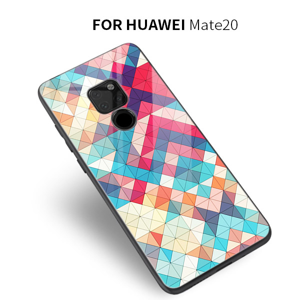 Tempered glass Colorful plaid Big carp Phone case For Huawei MATE 20 PRO MATE 20 X P20 PRO V20 cover Hieroglyphics soft case in Fitted Cases from Cellphones Telecommunications