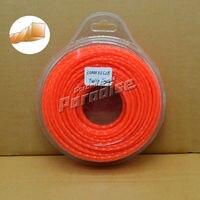 0 120 3 0mm Diamemter 0 5LB Twist Square Garden Grass Trimmer Line Orange Color Blister