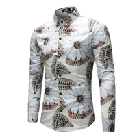Mode Witte Bloem Bloemen Hawaiian Shirt Mannen 2018 Lente Herfst Lange Mouw Overhemd Merk Mannelijke Kleding Camisa Masculina