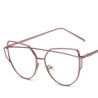 Retro Glasses Lenses 2017 Ladies Fashion Brand Designer Flat Mirror Cat Shopping Beach Five Colors