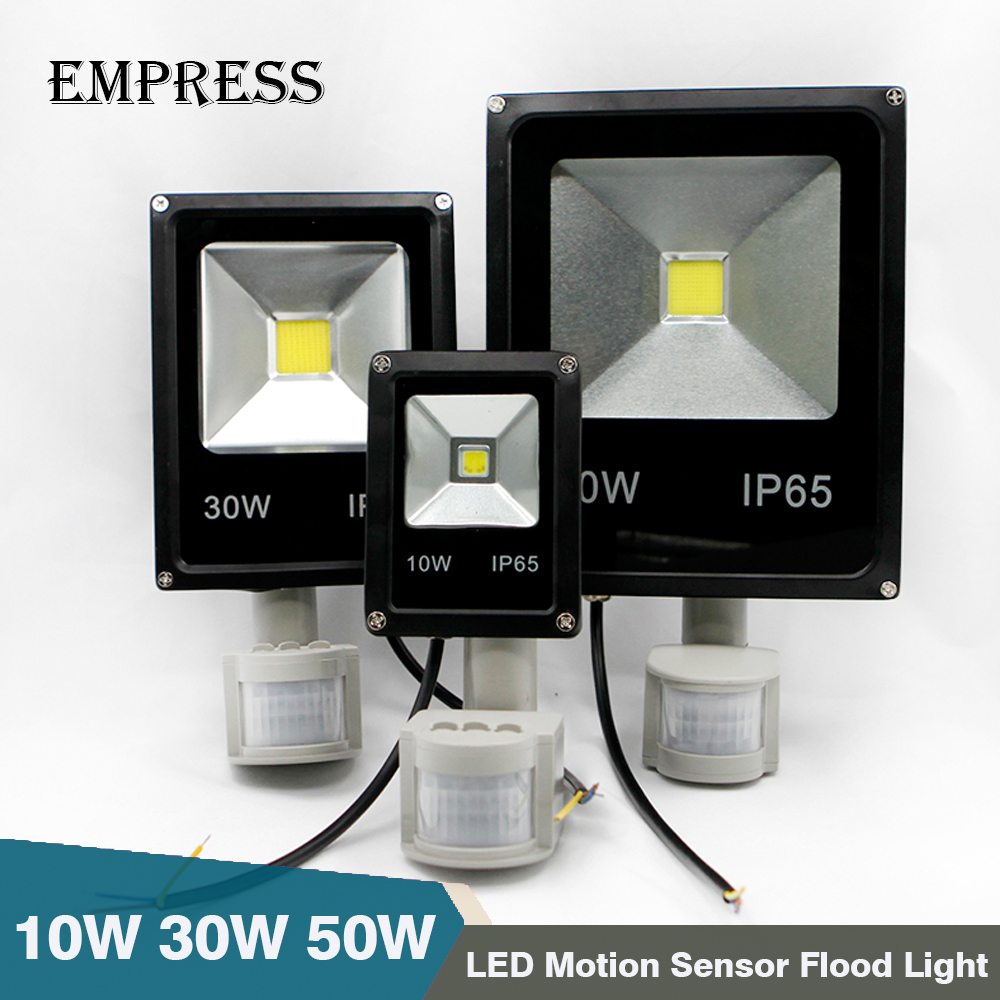 Motion Sensor LED Flood Light 220V 50W 30W 10W Waterproof Floodlight Spotlight Outdoor Lighting Street LED Lamp Reflector IP65