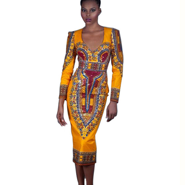 ea71056a16e8 Women Traditional African Print Dashiki Dresses Knee Length Autumn Long  Sleeve Backless Party Dress Plus Size S-XL