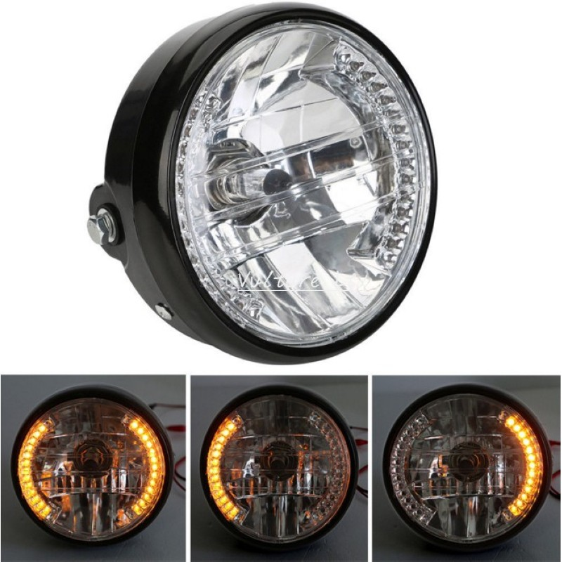 New Universal 7 12v Motorcycle Round Headlight Turn Signal light Head Lamp For Harley Bobber Honda Yamaha Kawasaki Cafe Racer image