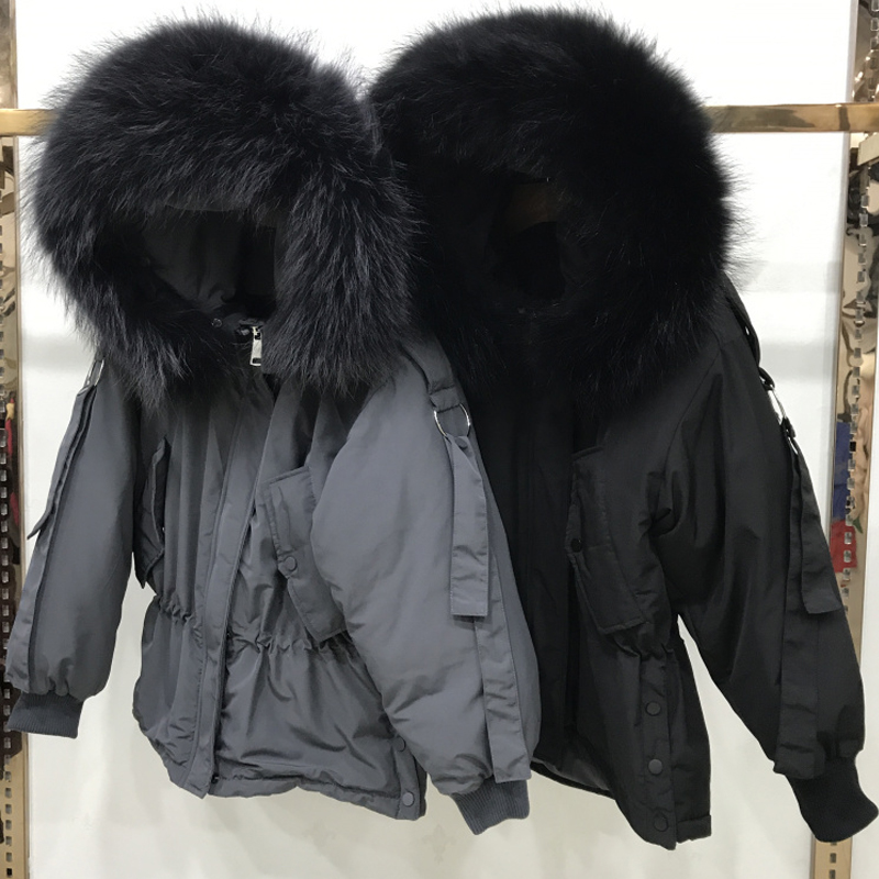 Large Real Raccoon Fur 2019 Women Winter Jacket Hooded Warm Female White Duck   Down   Jacket Medium Long Parkas Loose Women   Coat