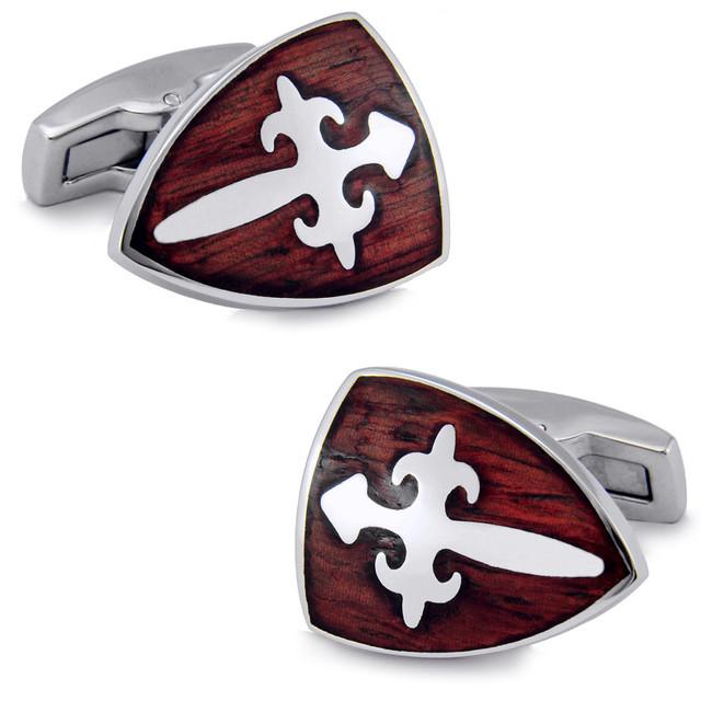 SPARTA aço Inoxidável + Mahogany Cuffliks Cavaleiro Escudo dos homens de Punho + Frete Grátis!!! botões de metal
