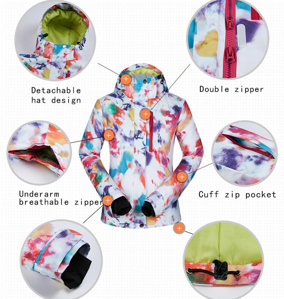 Wanita Jaket + Celana Ski Suit Set Tahan Air Tahan Angin Bernapas Gunung Ski Salju Outdoor Snowboarding Pakaian Wanita