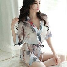 Sexy Chiffon Lingerie Womens Temptation Large Size Pajamas Transparent Print Robe Bathrobe Set