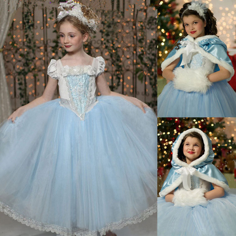 2016 Girls Cinderella Princess Dress With Shawl Fairy Tail Kids Girl Movie Cosplay Costume fairy tale dress kids halloween princess cosplay dress