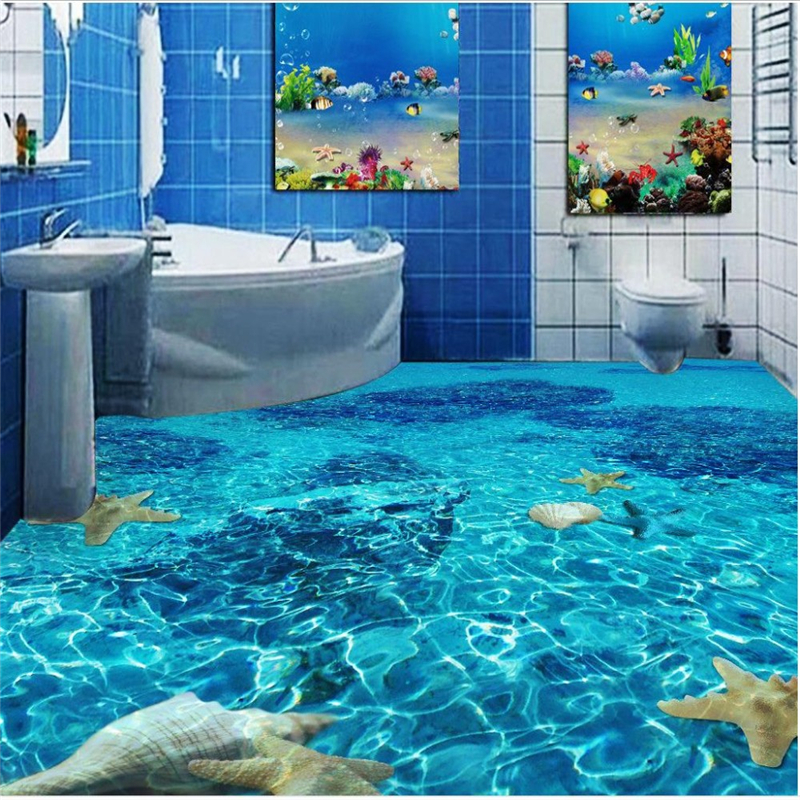 Beach mural wall stickers floor 3 d floor of sitting room for Beach mural for wall