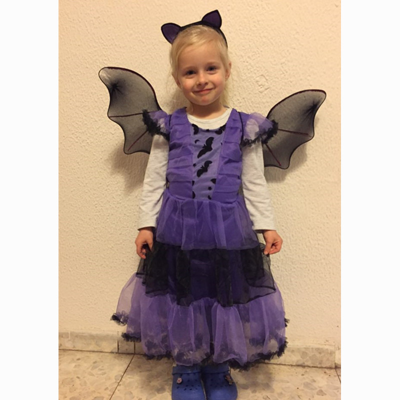 Children Purple Bat Girl costume With wings Children's day School Party gift Fancy kid cosplay party dress