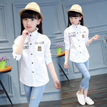 Free Shipping White Blouses For Girls Shirts Cotton Long Sleeve Letter Shirts For Girls Clothing Children Tops School Uniform