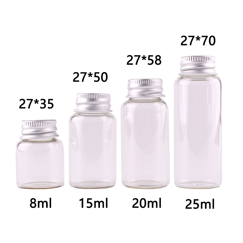 Dia 27mm 8ml 15ml <font><b>20ml</b></font> <font><b>20ml</b></font> Transparent <font><b>Glass</b></font> Spice <font><b>Bottles</b></font> Jars <font><b>Vials</b></font> Terrarium <font><b>with</b></font> Silver <font><b>Screw</b></font> <font><b>Cap</b></font> Lid Wedding Crafts 50pcs image