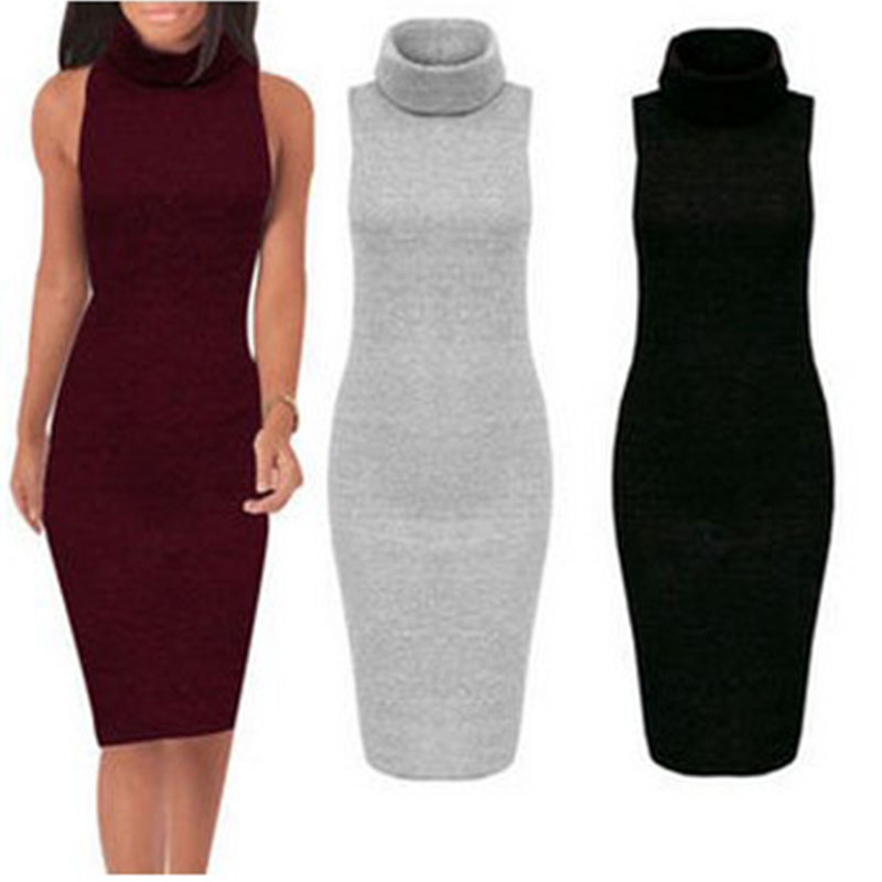 Knitting Dresses Women : New winter knit dress retro turtleneck bodycon