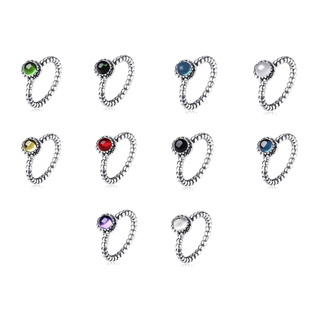 10 Style 925 Sterling Silver Ring Charm Round Stone 925 For Women Jewelry