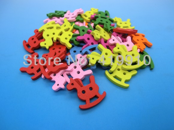 Free shipping -100PCs Randomly Mixed Trojan 2 Holes Wood Painting Sewing Buttons Scrapbooking 24x20mm, J1553