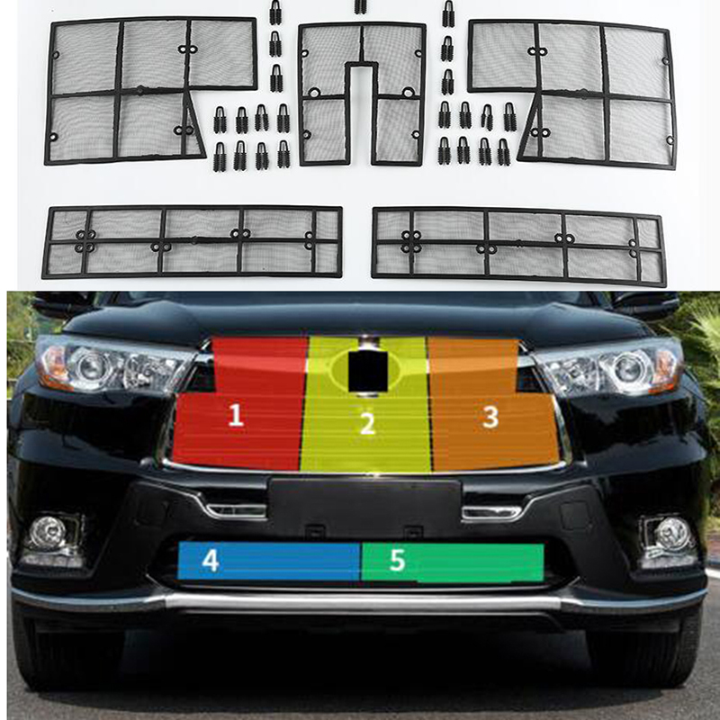 5Pcs Car Insect Screening Mesh Front Grille Insert Net For Toyota Highlander 2014 2015 2016 Accessories mesh insert jumpsuit
