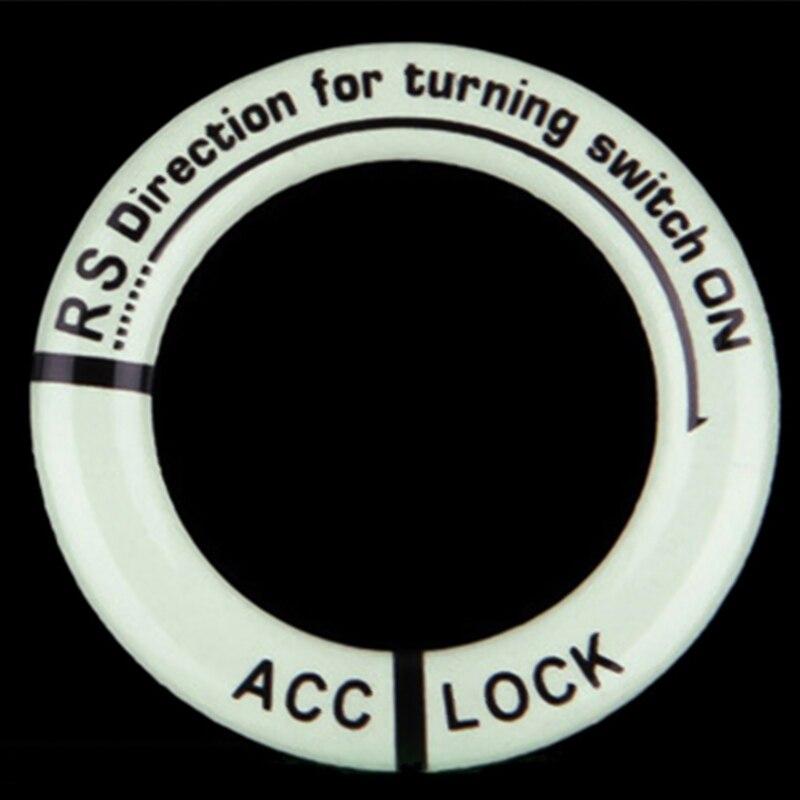 Светящееся кольцо для ключей, декоративная наклейка, автомобильный стиль, переключатель зажигания, защитная наклейка, авто аксессуары для интерьера - Название цвета: Черный
