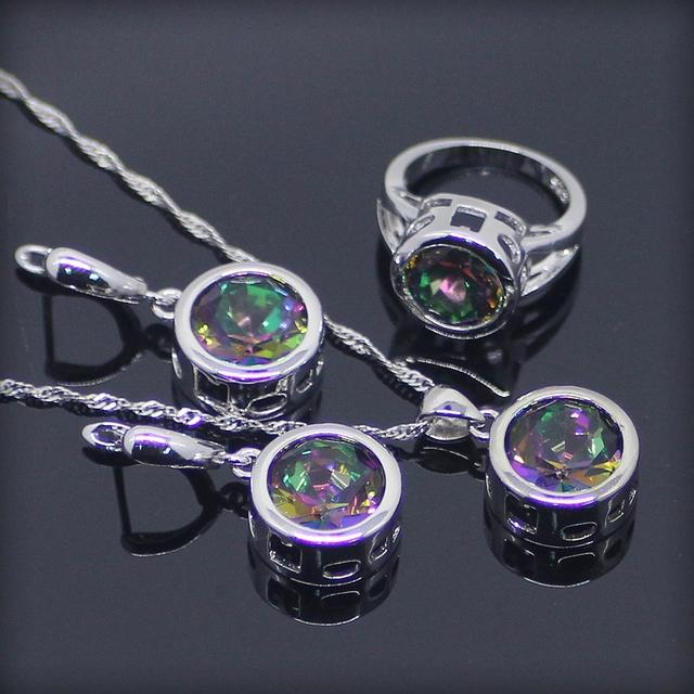 Ronda de Lujo Del Arco Iris Mágico Creado Topaz 925 Plata de La Joyería Para Las Mujeres Pendientes/Colgante/Collar/Anillos Caja libre
