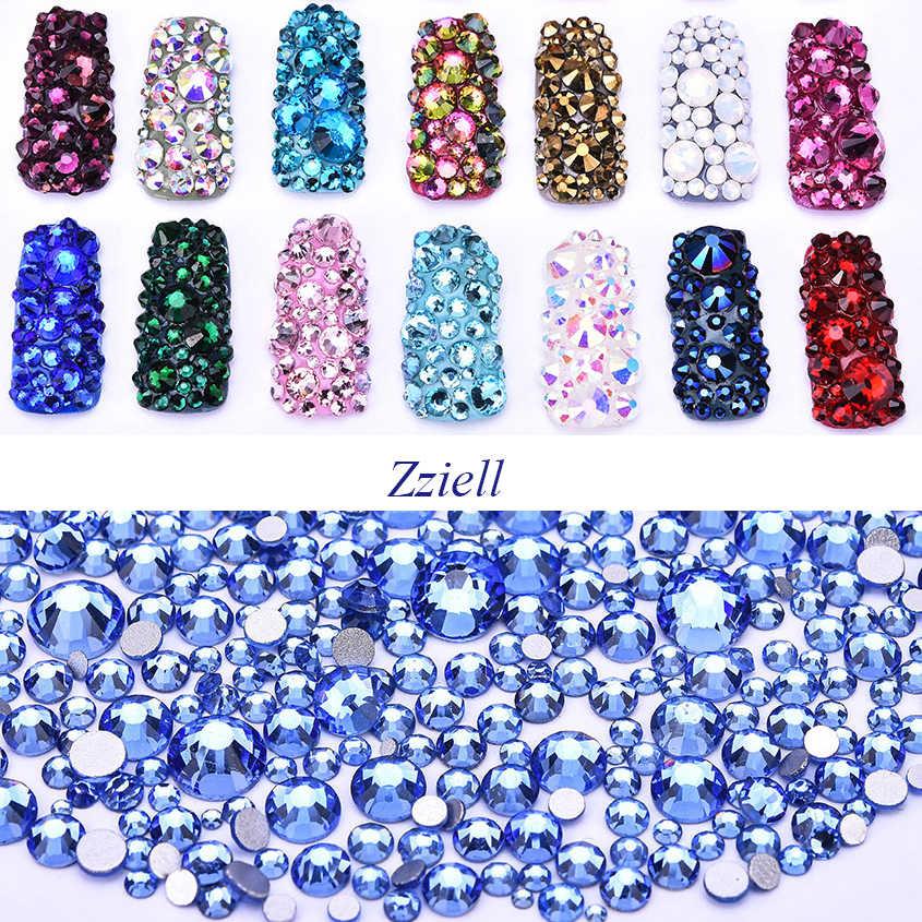 Zziell SS3-SS30 & Mix ขนาด Light Sapphire Rhinestone SMC แบน Strass คริสตัล Non Hotfix สำหรับเล็บ Art โทรศัพท์มือถือกรณีเสื้อผ้า